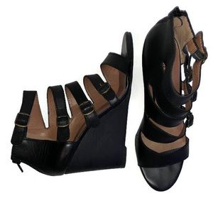 Lucky Brand Caged Black Wedges Reynolds Leather